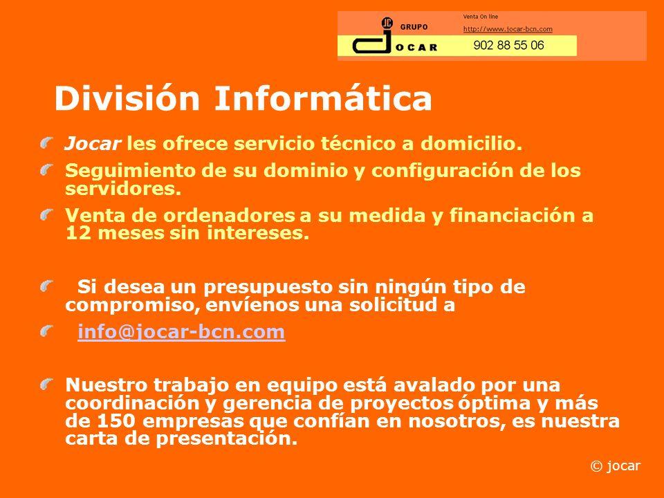 División Informática Jocar les ofrece servicio técnico a domicilio.