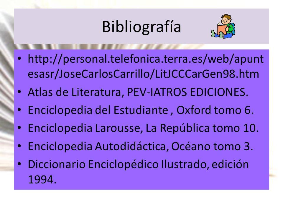 Bibliografía http://personal.telefonica.terra.es/web/apuntesasr/JoseCarlosCarrillo/LitJCCCarGen98.htm.