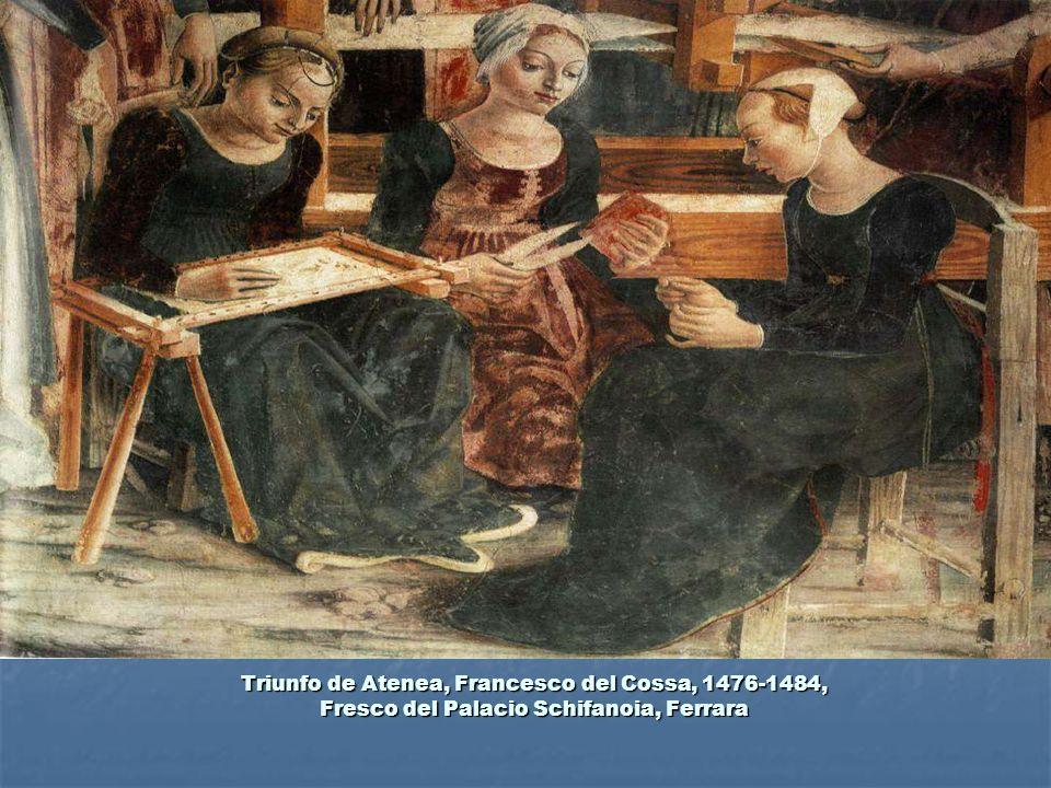 Triunfo de Atenea, Francesco del Cossa, 1476-1484, Fresco del Palacio Schifanoia, Ferrara