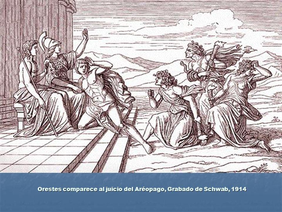 Orestes comparece al juicio del Aréopago, Grabado de Schwab, 1914