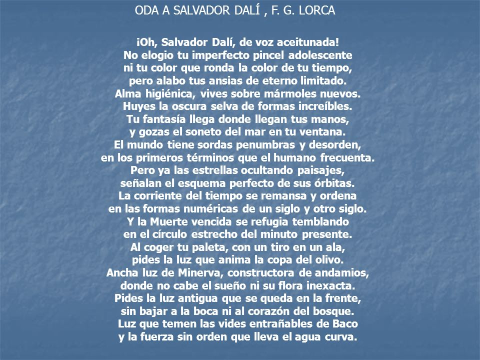 ODA A SALVADOR DALÍ , F. G. LORCA