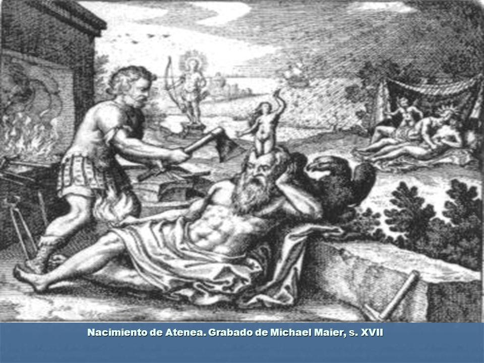 Nacimiento de Atenea. Grabado de Michael Maier, s. XVII