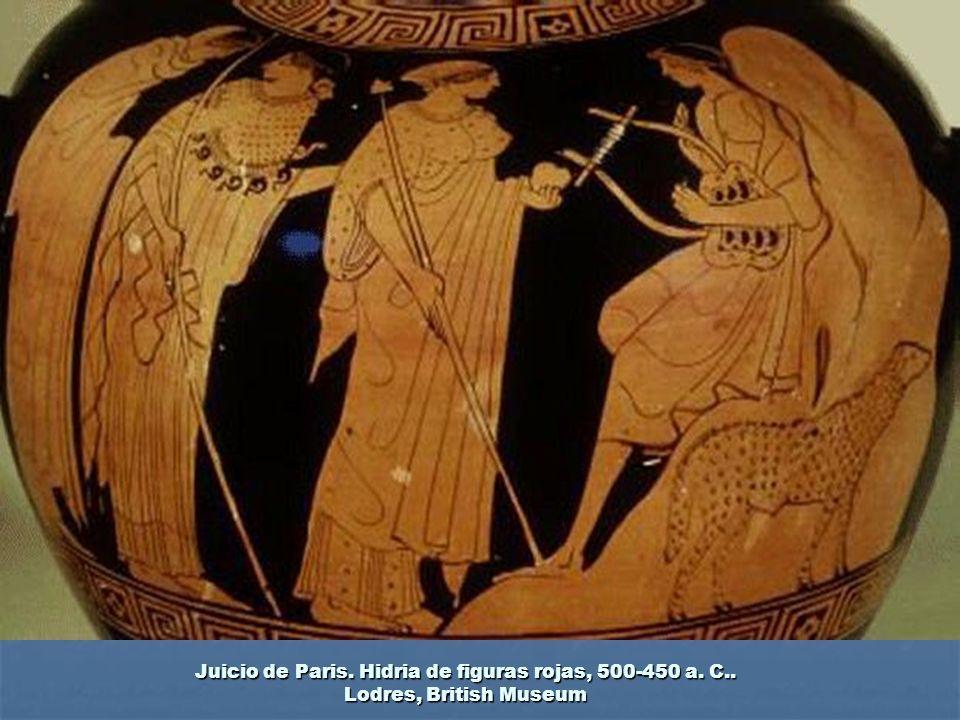 Juicio de Paris. Hidria de figuras rojas, 500-450 a. C