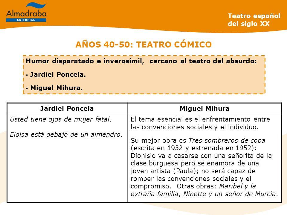 AÑOS 40-50: TEATRO CÓMICO Teatro español del siglo XX