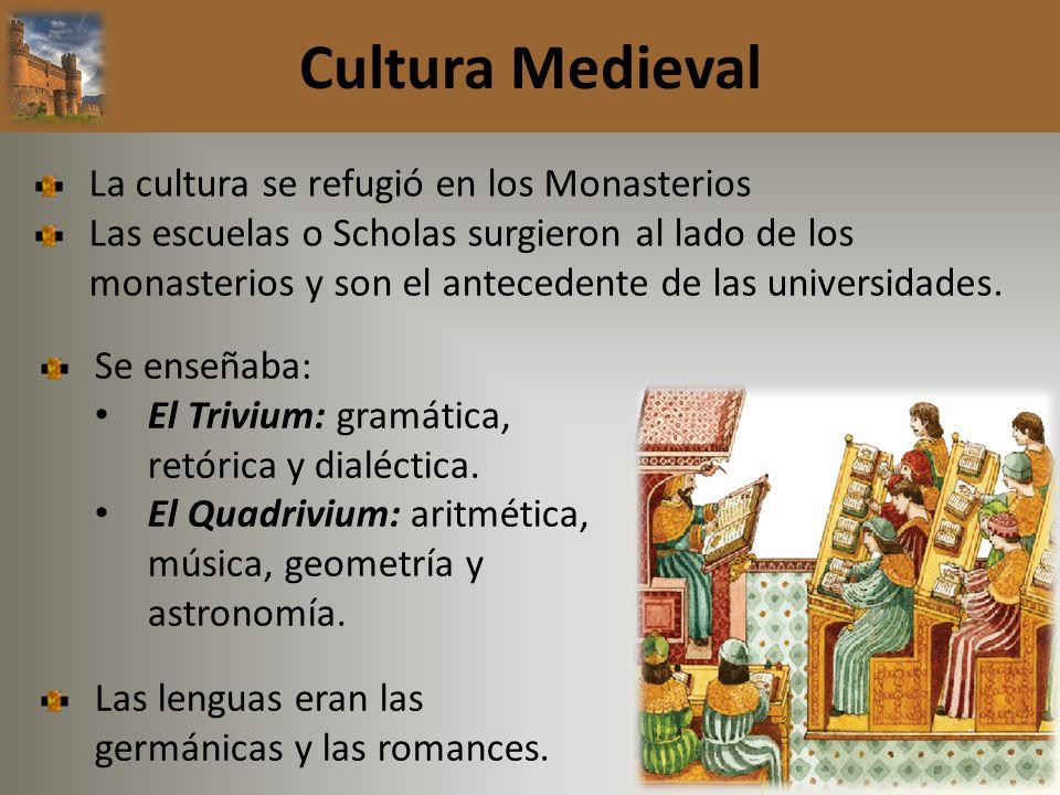 Cultura Medieval La cultura se refugió en los Monasterios