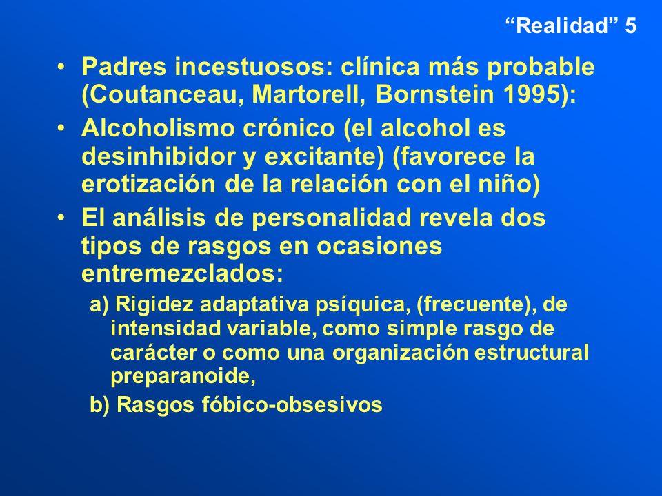 Realidad 5 Padres incestuosos: clínica más probable (Coutanceau, Martorell, Bornstein 1995):