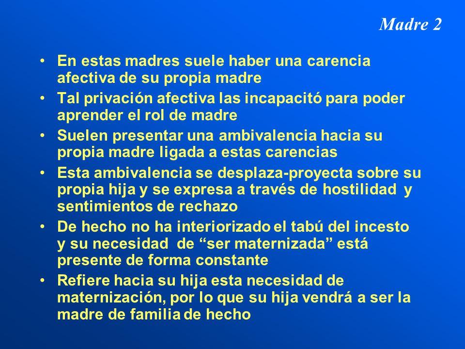 Madre 2 En estas madres suele haber una carencia afectiva de su propia madre.