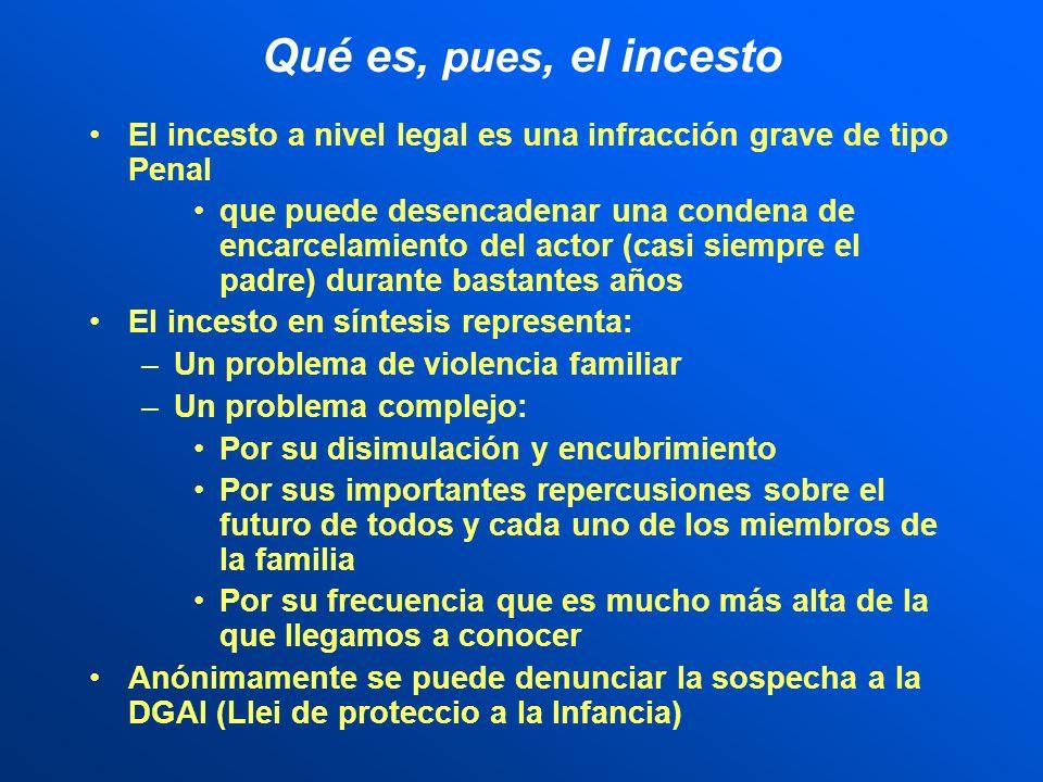 Qué es, pues, el incesto El incesto a nivel legal es una infracción grave de tipo Penal.