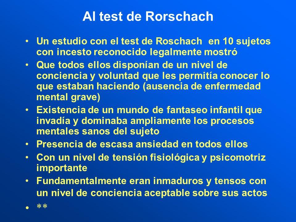 Al test de Rorschach Un estudio con el test de Roschach en 10 sujetos con incesto reconocido legalmente mostró.