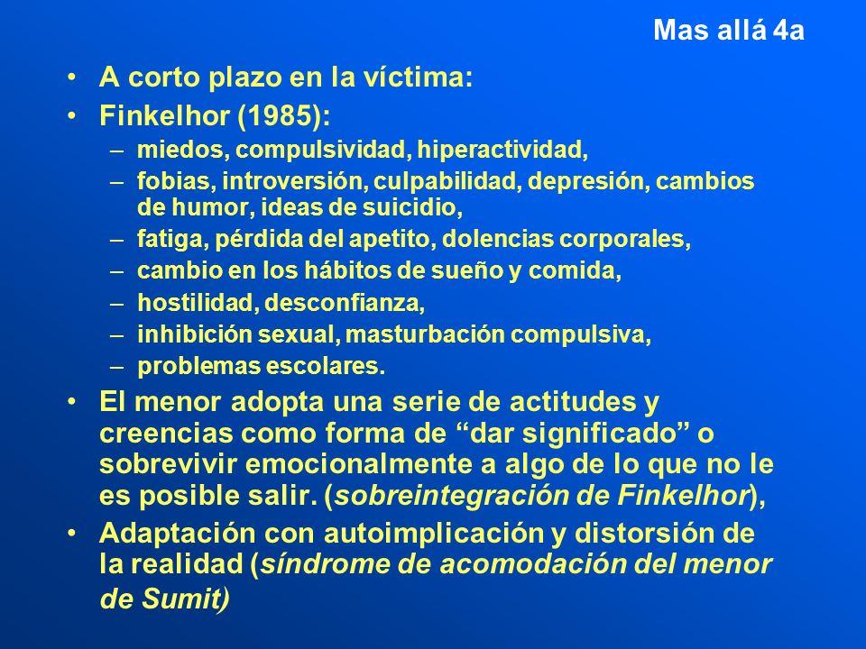 A corto plazo en la víctima: Finkelhor (1985):