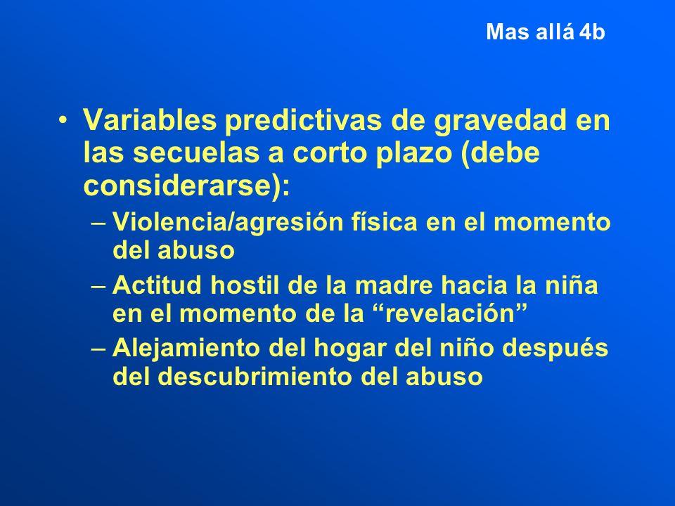 Mas allá 4b Variables predictivas de gravedad en las secuelas a corto plazo (debe considerarse): Violencia/agresión física en el momento del abuso.