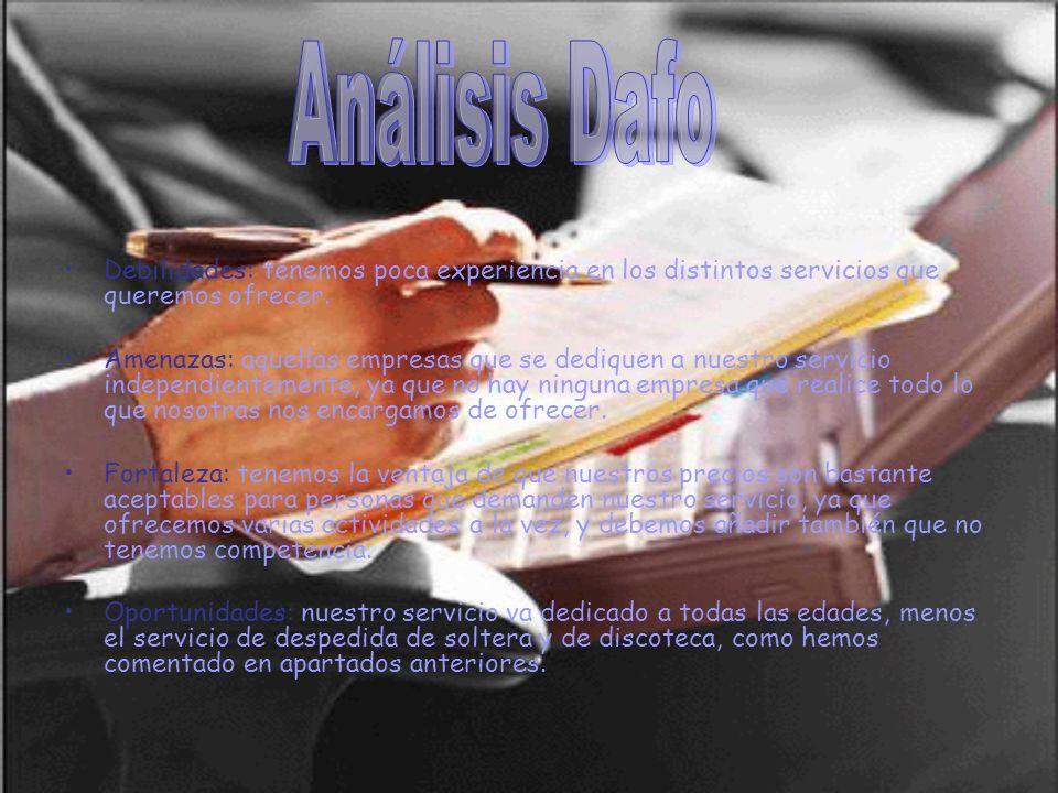 Análisis Dafo Debilidades: tenemos poca experiencia en los distintos servicios que queremos ofrecer.