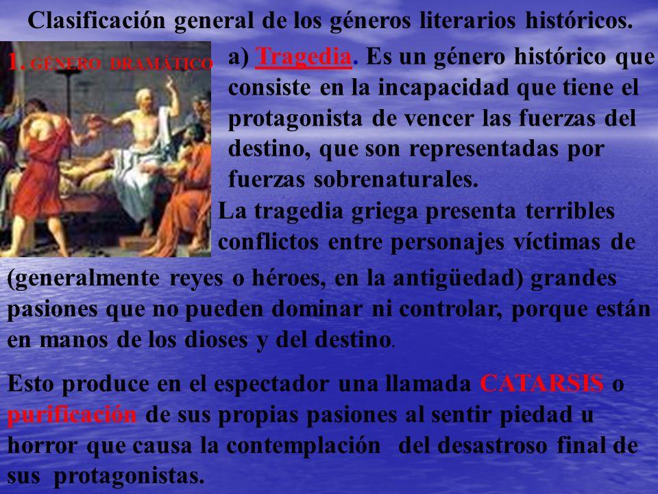 Clasificación general de los géneros literarios históricos.