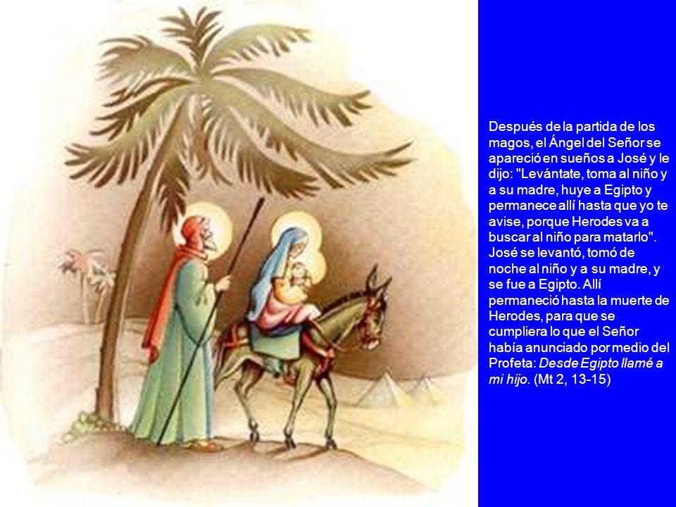 Después de la partida de los magos, el Ángel del Señor se apareció en sueños a José y le dijo: Levántate, toma al niño y a su madre, huye a Egipto y permanece allí hasta que yo te avise, porque Herodes va a buscar al niño para matarlo .