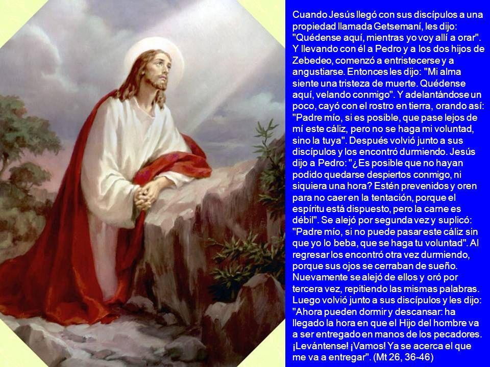 Cuando Jesús llegó con sus discípulos a una propiedad llamada Getsemaní, les dijo: Quédense aquí, mientras yo voy allí a orar .