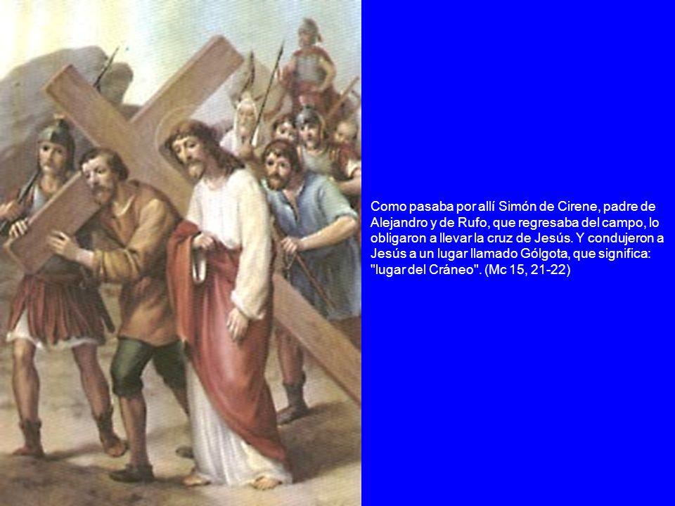 Como pasaba por allí Simón de Cirene, padre de Alejandro y de Rufo, que regresaba del campo, lo obligaron a llevar la cruz de Jesús.