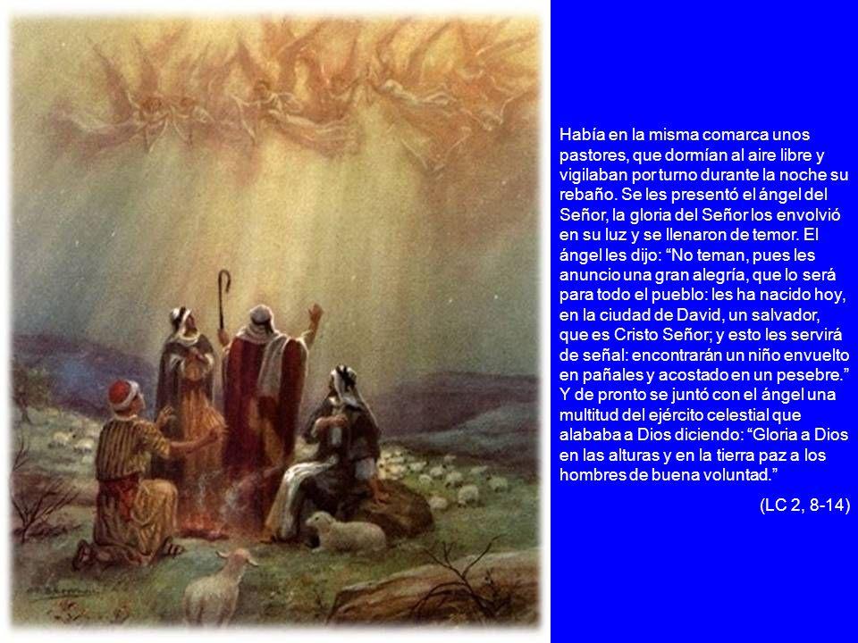 Había en la misma comarca unos pastores, que dormían al aire libre y vigilaban por turno durante la noche su rebaño. Se les presentó el ángel del Señor, la gloria del Señor los envolvió en su luz y se llenaron de temor. El ángel les dijo: No teman, pues les anuncio una gran alegría, que lo será para todo el pueblo: les ha nacido hoy, en la ciudad de David, un salvador, que es Cristo Señor; y esto les servirá de señal: encontrarán un niño envuelto en pañales y acostado en un pesebre. Y de pronto se juntó con el ángel una multitud del ejército celestial que alababa a Dios diciendo: Gloria a Dios en las alturas y en la tierra paz a los hombres de buena voluntad.