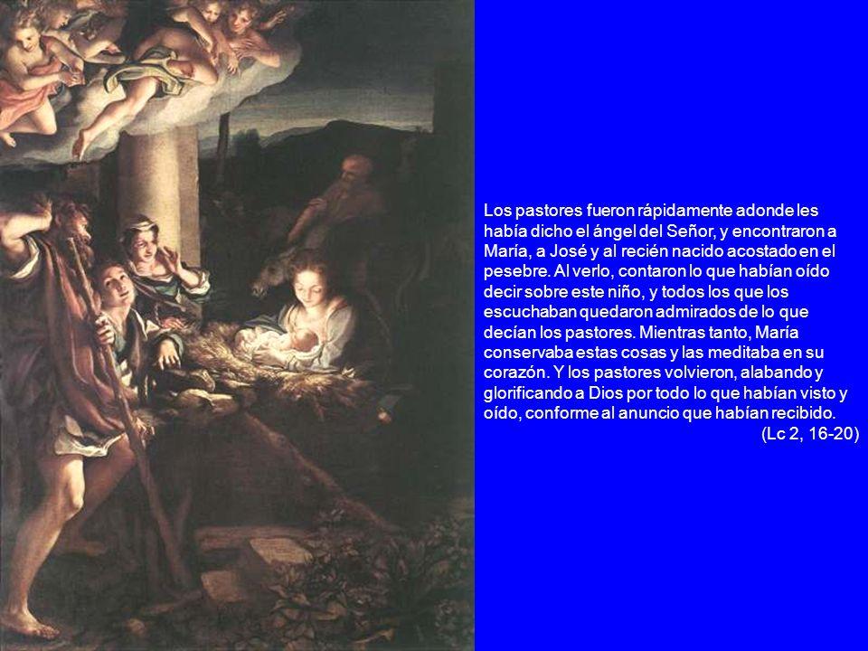 Los pastores fueron rápidamente adonde les había dicho el ángel del Señor, y encontraron a María, a José y al recién nacido acostado en el pesebre. Al verlo, contaron lo que habían oído decir sobre este niño, y todos los que los escuchaban quedaron admirados de lo que decían los pastores. Mientras tanto, María conservaba estas cosas y las meditaba en su corazón. Y los pastores volvieron, alabando y glorificando a Dios por todo lo que habían visto y oído, conforme al anuncio que habían recibido.