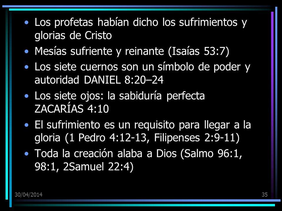 Los profetas habían dicho los sufrimientos y glorias de Cristo
