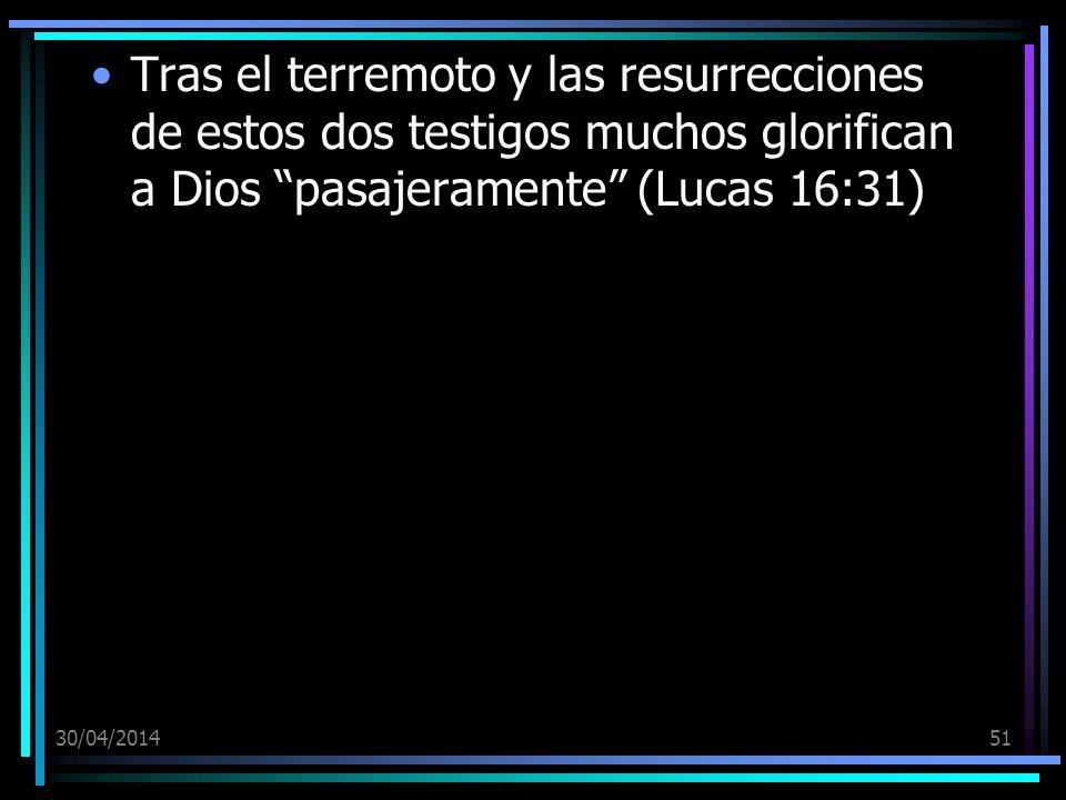Tras el terremoto y las resurrecciones de estos dos testigos muchos glorifican a Dios pasajeramente (Lucas 16:31)