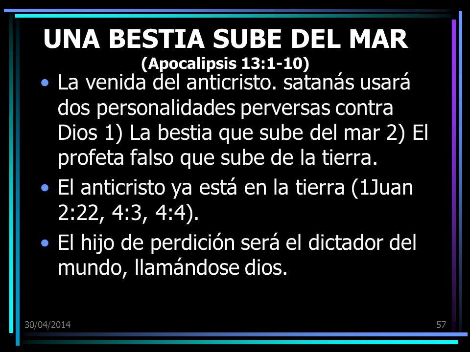 UNA BESTIA SUBE DEL MAR (Apocalipsis 13:1-10)