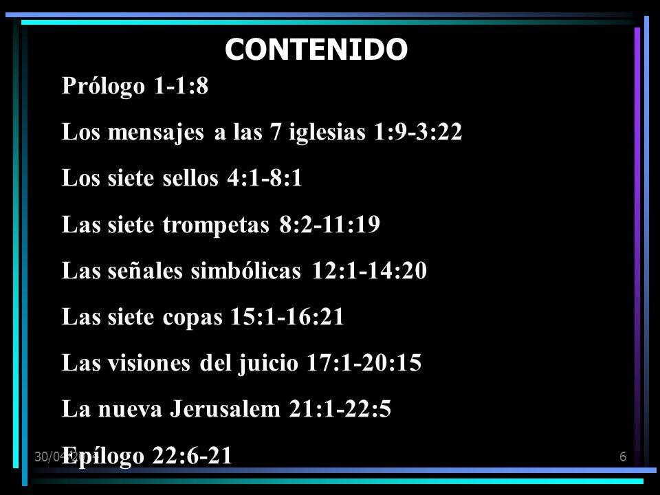 CONTENIDO Prólogo 1-1:8 Los mensajes a las 7 iglesias 1:9-3:22