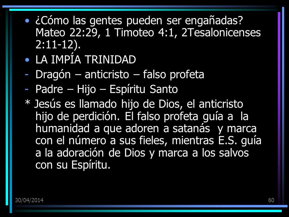 Dragón – anticristo – falso profeta Padre – Hijo – Espíritu Santo