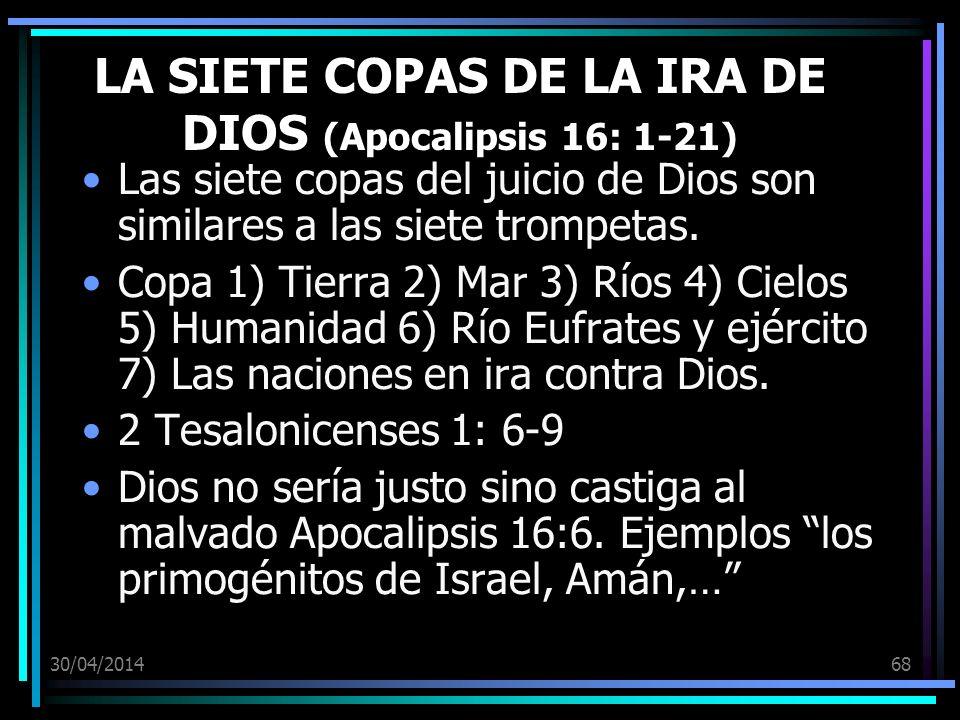 LA SIETE COPAS DE LA IRA DE DIOS (Apocalipsis 16: 1-21)