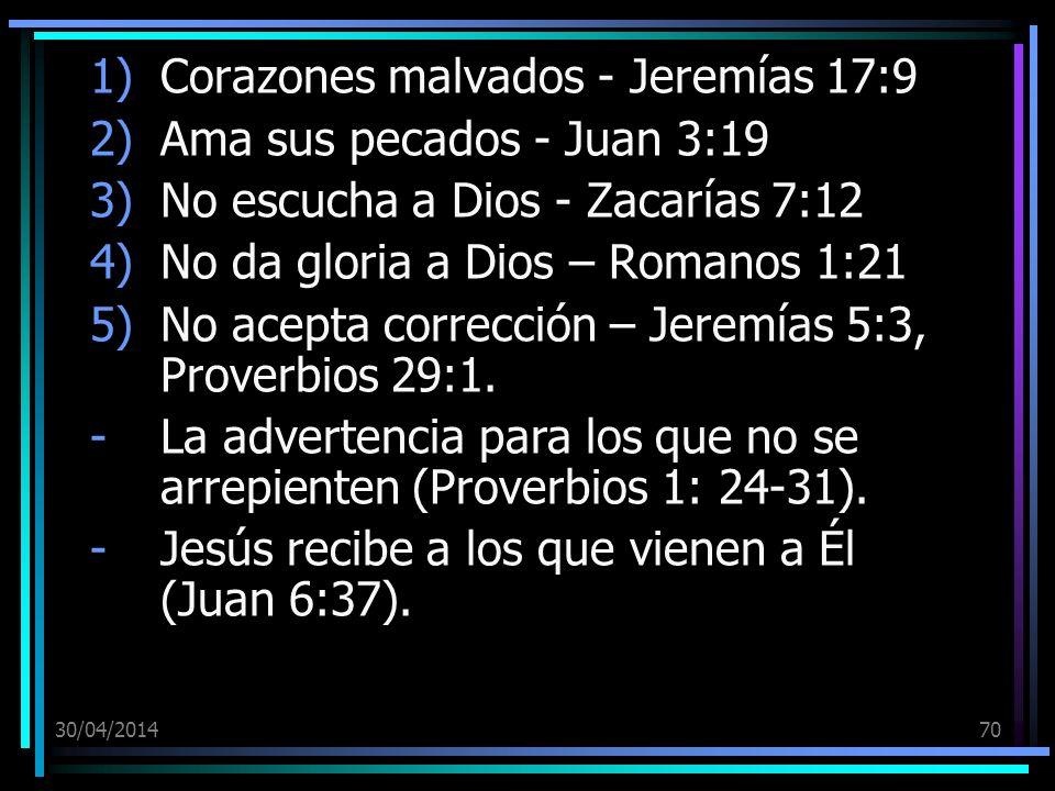 Corazones malvados - Jeremías 17:9 Ama sus pecados - Juan 3:19