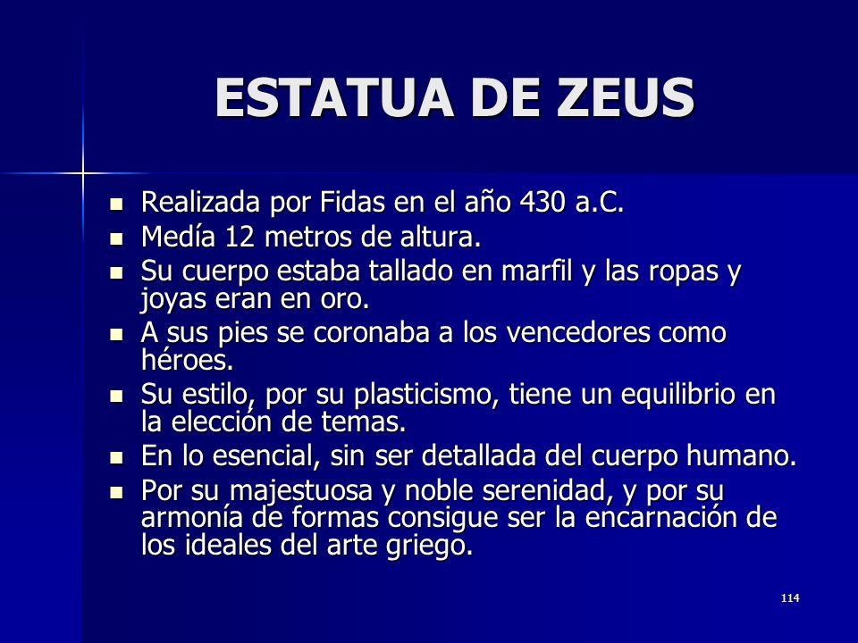 ESTATUA DE ZEUS Realizada por Fidas en el año 430 a.C.
