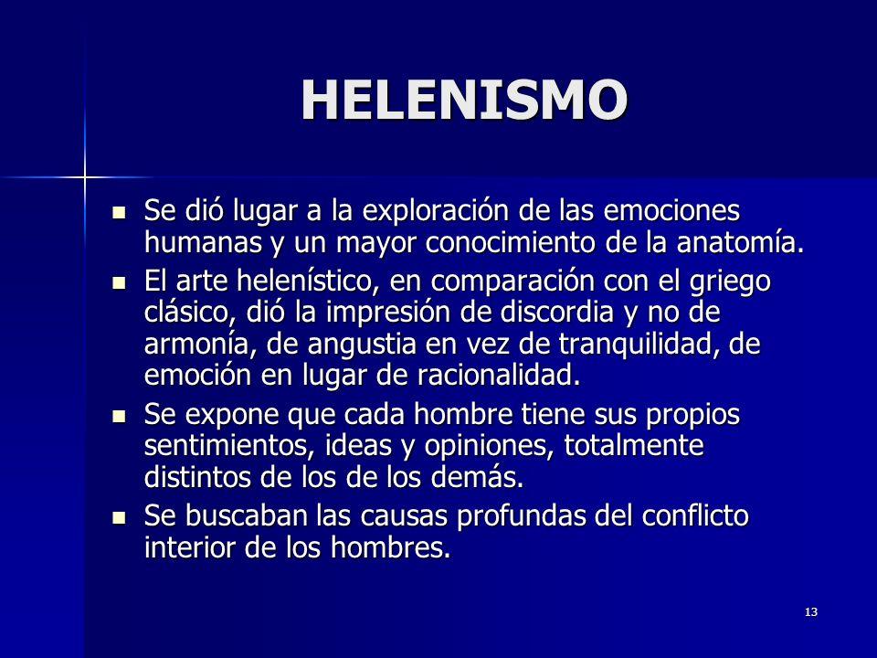 HELENISMO Se dió lugar a la exploración de las emociones humanas y un mayor conocimiento de la anatomía.