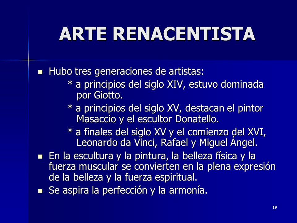 ARTE RENACENTISTA Hubo tres generaciones de artistas: