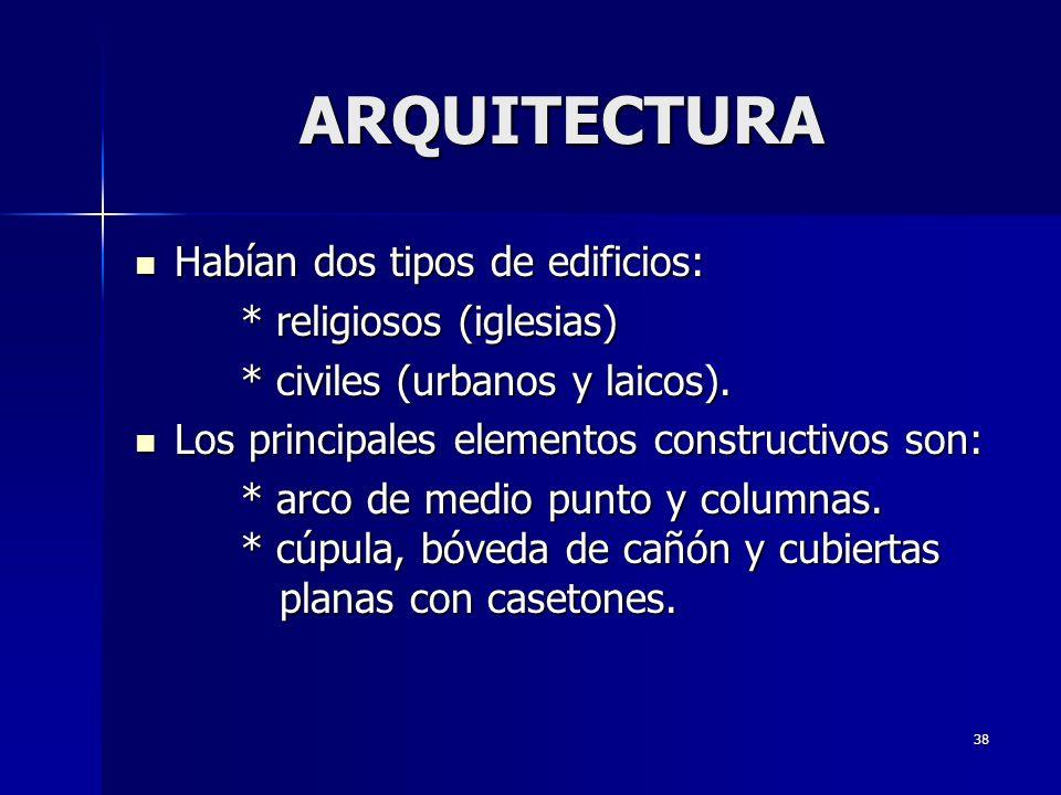 ARQUITECTURA Habían dos tipos de edificios: * religiosos (iglesias)