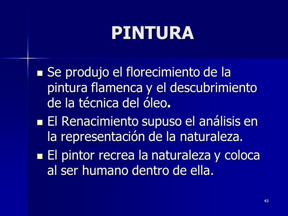 PINTURA Se produjo el florecimiento de la pintura flamenca y el descubrimiento de la técnica del óleo.