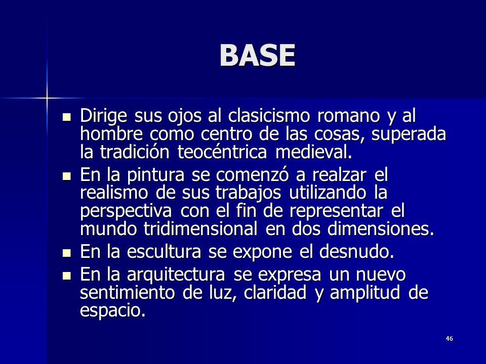 BASE Dirige sus ojos al clasicismo romano y al hombre como centro de las cosas, superada la tradición teocéntrica medieval.