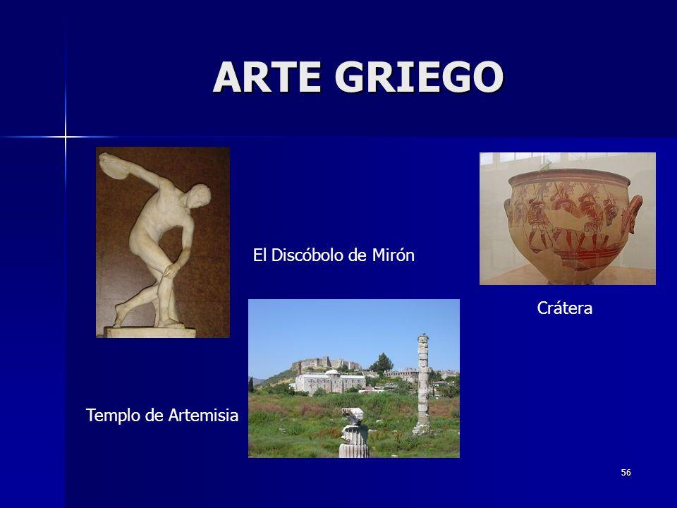 ARTE GRIEGO El Discóbolo de Mirón Crátera Templo de Artemisia