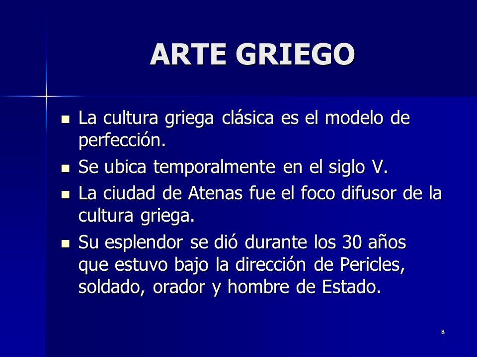 ARTE GRIEGO La cultura griega clásica es el modelo de perfección.