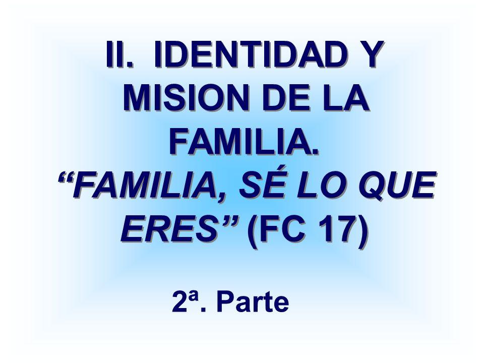 II. IDENTIDAD Y MISION DE LA FAMILIA. FAMILIA, SÉ LO QUE ERES (FC 17)