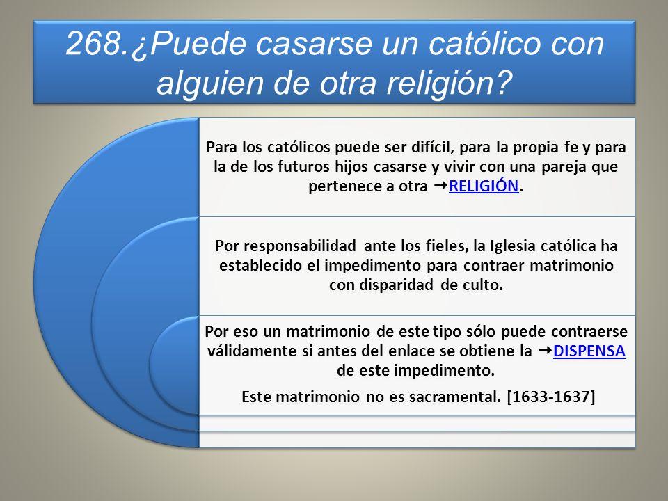 268.¿Puede casarse un católico con alguien de otra religión