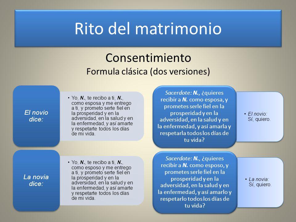 Rito del matrimonio Consentimiento Formula clásica (dos versiones)