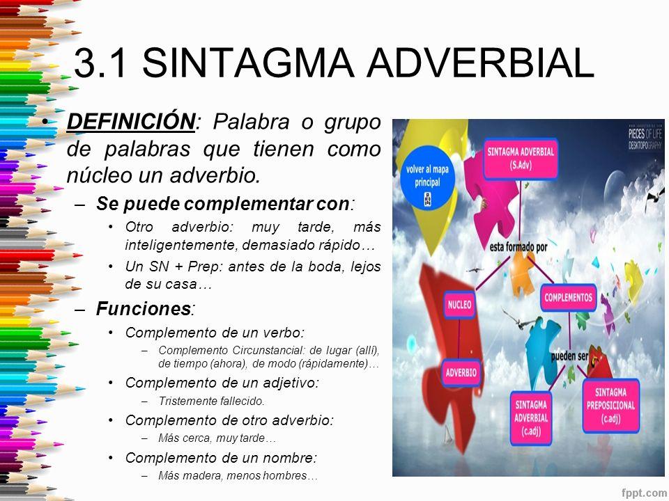 3.1 SINTAGMA ADVERBIAL DEFINICIÓN: Palabra o grupo de palabras que tienen como núcleo un adverbio. Se puede complementar con: