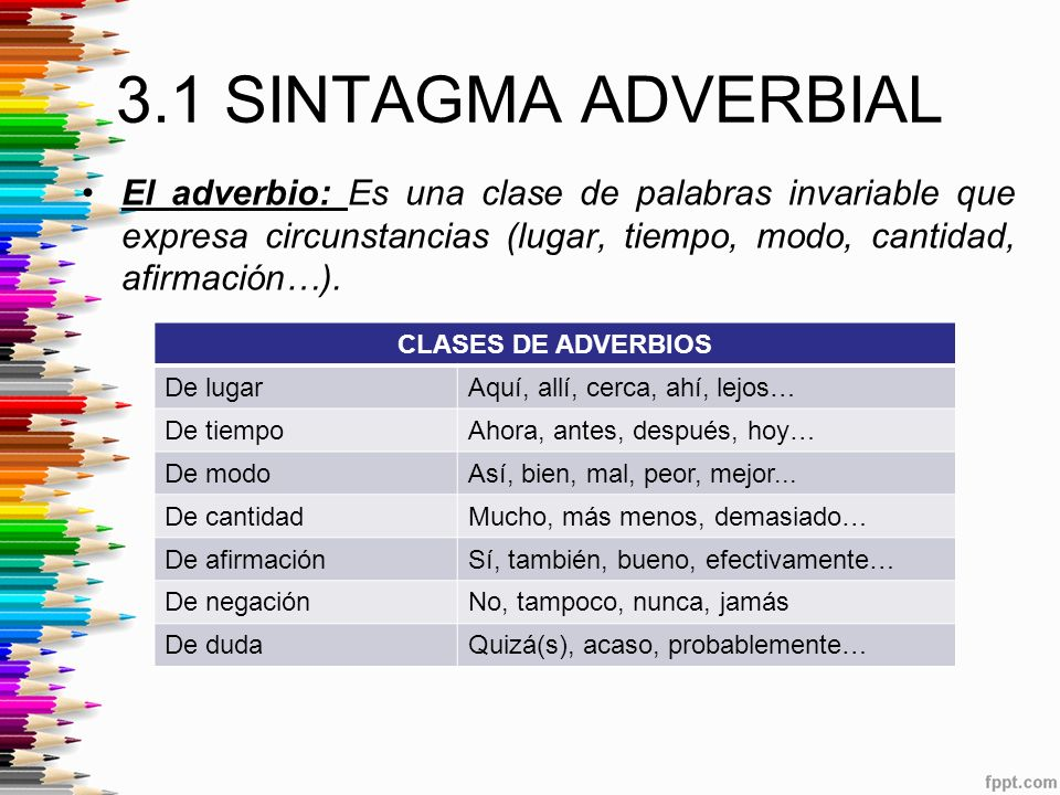 3.1 SINTAGMA ADVERBIAL El adverbio: Es una clase de palabras invariable que expresa circunstancias (lugar, tiempo, modo, cantidad, afirmación…).