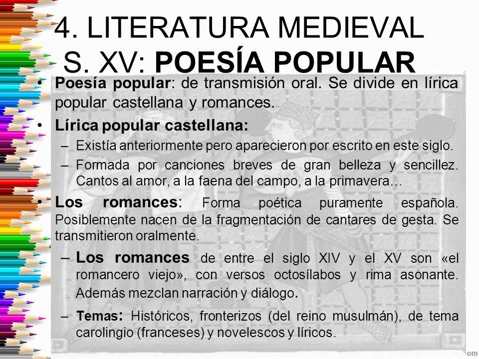 4. LITERATURA MEDIEVAL S. XV: POESÍA POPULAR