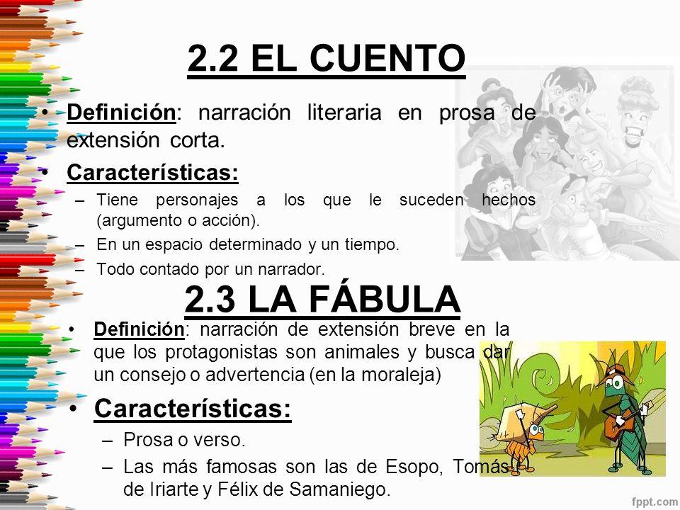 2.2 EL CUENTO 2.3 LA FÁBULA Características: