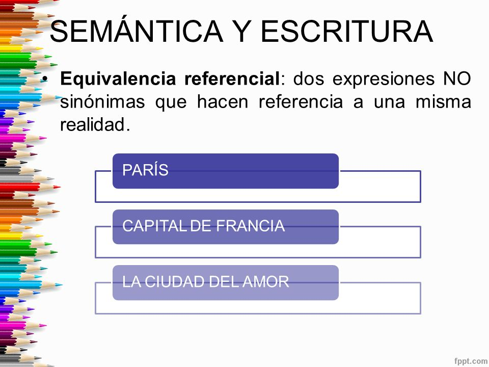 SEMÁNTICA Y ESCRITURA Equivalencia referencial: dos expresiones NO sinónimas que hacen referencia a una misma realidad.