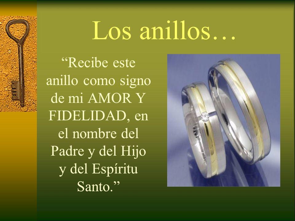 Los anillos… Recibe este anillo como signo de mi AMOR Y FIDELIDAD, en el nombre del Padre y del Hijo y del Espíritu Santo.