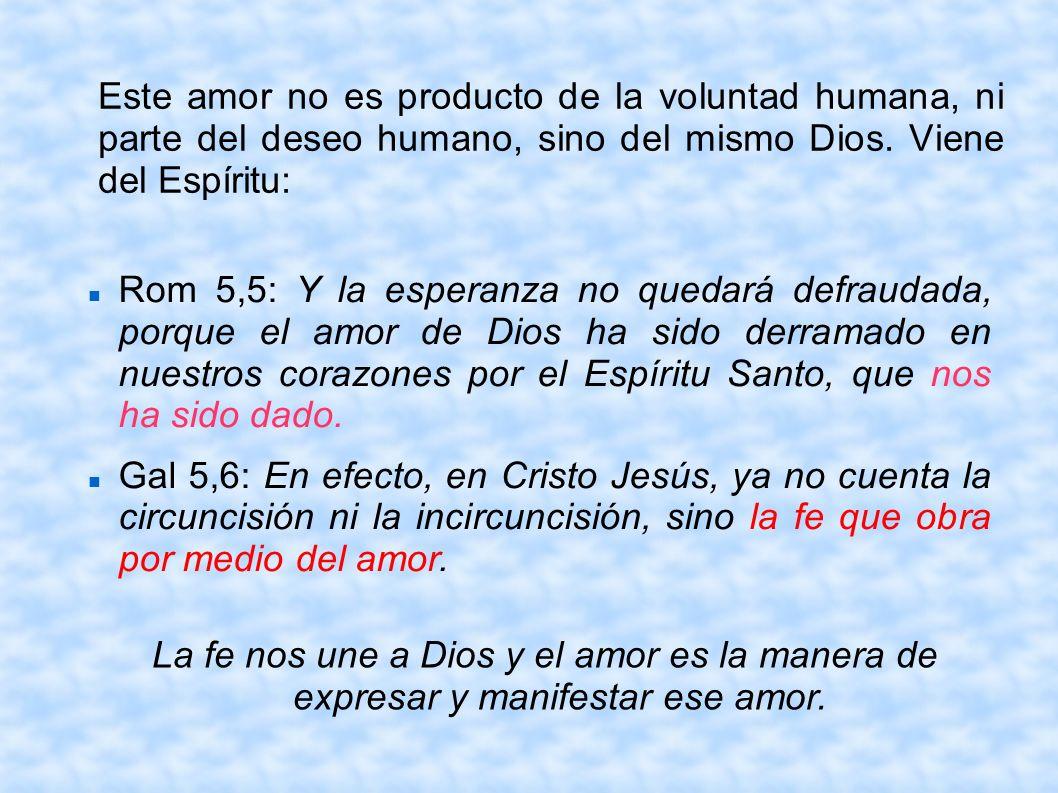 Este amor no es producto de la voluntad humana, ni parte del deseo humano, sino del mismo Dios. Viene del Espíritu:
