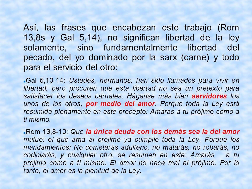 Así, las frases que encabezan este trabajo (Rom 13,8s y Gal 5,14), no significan libertad de la ley solamente, sino fundamentalmente libertad del pecado, del yo dominado por la sarx (carne) y todo para el servicio del otro: