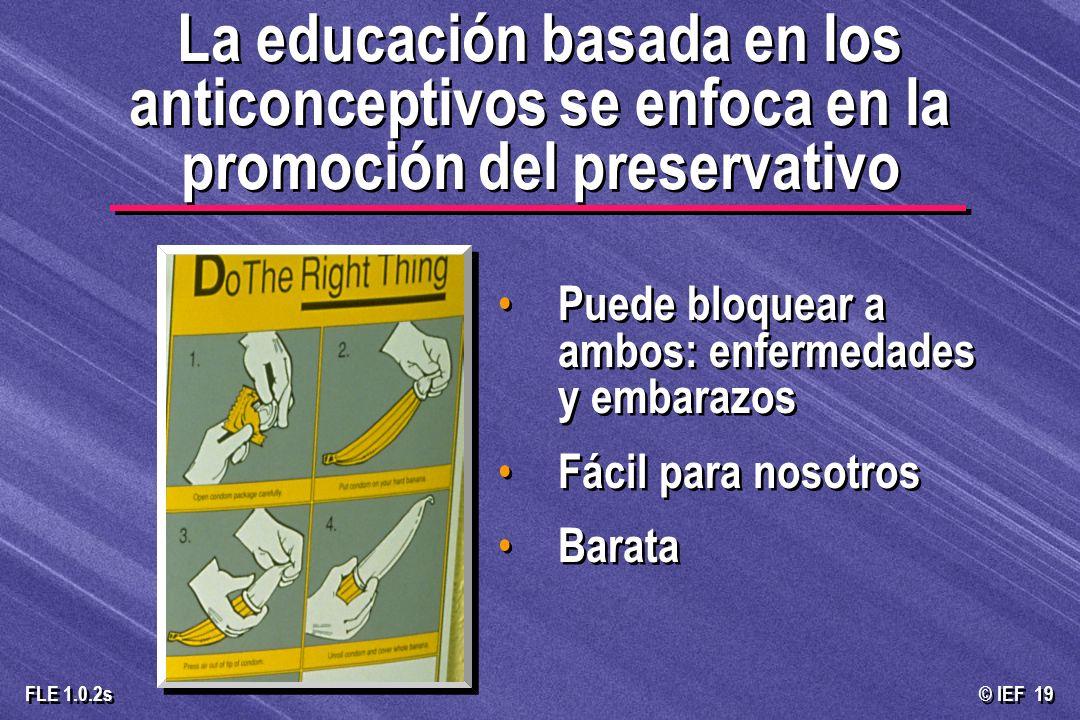 La educación basada en los anticonceptivos se enfoca en la promoción del preservativo
