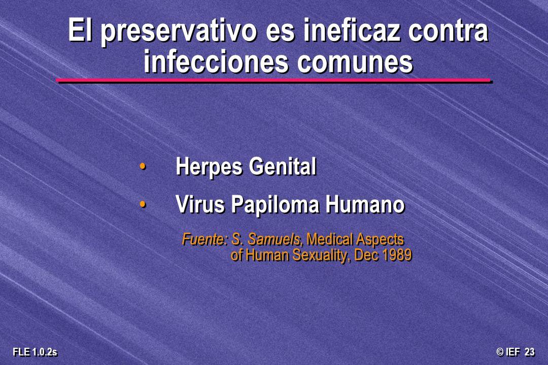 El preservativo es ineficaz contra infecciones comunes